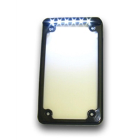 LED-Lighted Vertical Motorcycle License Plate Frame in Black or Chrome